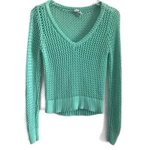 Aeropostale Teal Open Knit V-neck Sweater sz L